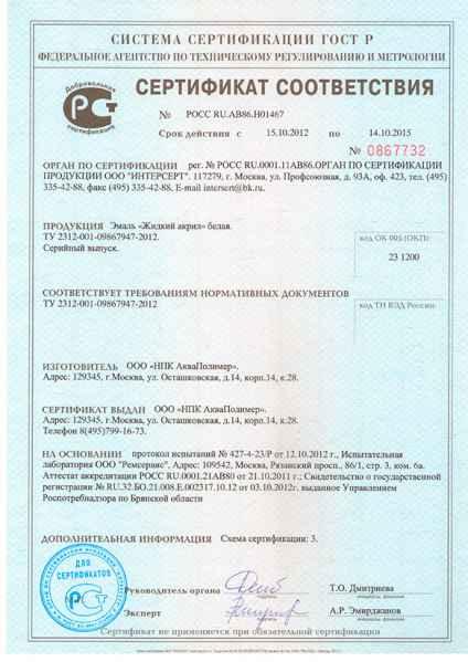 Сертифікат відповідності акрил